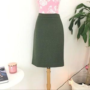 J.Crew No. 2 Olive Wool Pencil Skirt